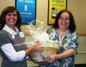 Weight Watchers Leader, Nancy Roche, Michelle Barna with Weight Watchers gift basket