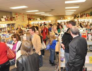 The crowd waits in line at Sparta Books during the book signing.