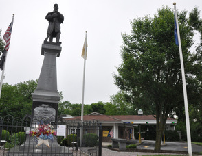 A Civil War Tribute Memorial overlooks the Valley National Bank branch in Hackettstown.