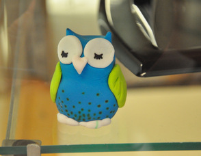 A fondant owl watches over the baked goods.