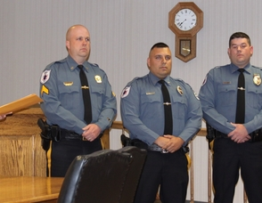 Police Chief Gil Taglialatela recognizes Sergeant Eric Danielson, Patrolman Joseph Indano, Patrolman George Laoudis and Dispatcher Janet Ragsdale.