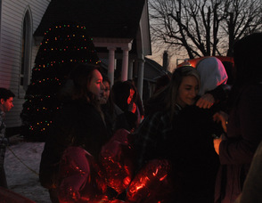 Mount Olive youth deliver balloons to be placed at the memorial.