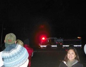 Santa's Firetruck Speeds Through the Street