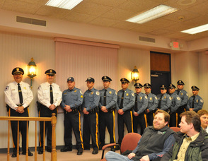 Andover Township Police Officers stand with chief Gil Taglialatela, and lieutenant Eric Danielson.