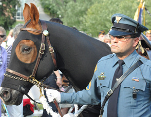 SSGT Joseph Geraci, Retired from the New Jersey State Police, with retired New Jersey State Police mount, Tonto Thomas.