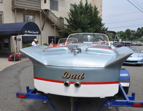 "The exterior of ""Dad"" a 19-foot Silver Arrow Chris Craft."