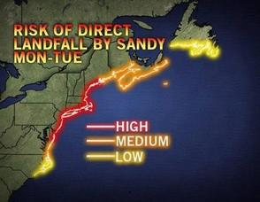 Hurricane Sandy's anticipated landfall path.
