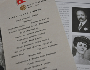 George Widener and Eleanor Elkins Widener, featured in the book, Last Dinner on the Titanic, along with a copy of the First Class menu from Jennifer Jean Miller's collection.