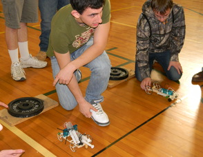 Students racing their cars