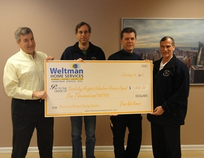 Weltman Home Services, Inc. donates $1,000 to the Berkeley Heights Volunteer Rescue Squad