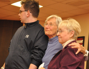 Evelyn Dudziec of Katie's House with Leann Muller and her grandson, Richard, who will be living in one of the homes.