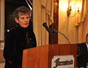 Anna C. Murphey, who photographed thousands of Sussex County athletes, at the podium.