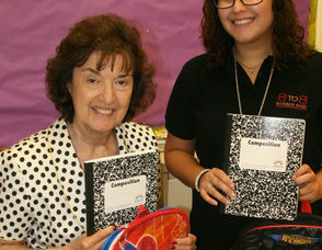Marie DeMaio, Principal of Washington Elementary School, and Brittany Matos of 8 to 8
