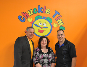 Andover Township Mayor, Michael Lensak, with Chuckle Time owners Dawn and George Hudock.