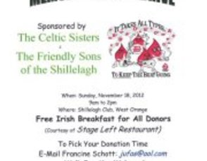 West Orange Celtic Sisters and Friendly Sons of the Shillelagh to Sponsor Blood Drive at the Shillelagh Club, Sunday, November 18, 2012, photo 1