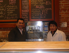 Owner of the Wine List of Summit, Ivan Ruiz with Roman, a chef from Paolo's Kitchen
