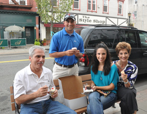 The Caruso Family from Succasunna, who visited the bakery, and enjoyed their baked goods while sitting on Spring Street. From left to right, Peter Caruso, Nick Berg, Christine Caruso, and Donna Caruso.