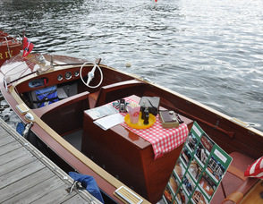 A 1957 Chris Craft, with retro memorabilia.