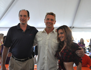Claude Jaillet, John Schneider, and Kristen Schulman, the Daisy Duke Look-a-Like.