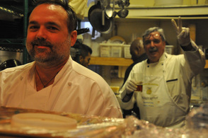 Chef Brad Boyle, volunteer Jim Passaro, and Chef Jesse Jones.