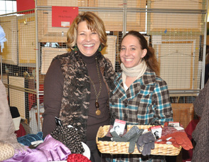 Sara Megletti, owner of PB&J Stores, with Jennifer Fratangelo, at the store's booth.
