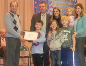 Students and teachers from the Jefferson School receiving the Silver award