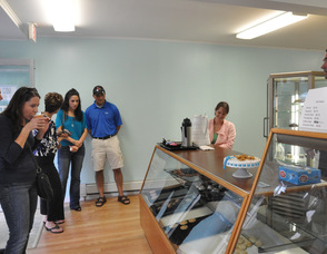 Elisa and Chip Schaffer chat with customers on Saturday.