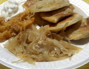 Bell's Mansion Pierogies ready to be enjoyed.