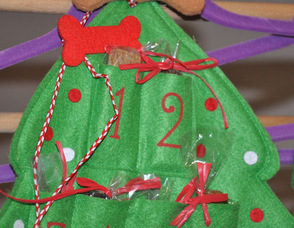 A special Advent Calendar for dogs, with refillable spots for pet treats.