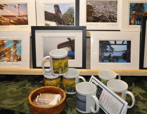 Photos of Daniel Baumgartner on display, and for sale.
