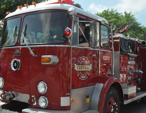 A vintage fire truck during the parade.