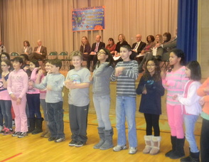 Students singing a song about food