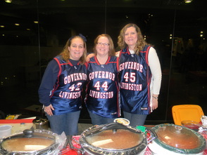 Robin Keller, Margie Cranston and Karen Bandics, who made meatballs representing GL boys basketball