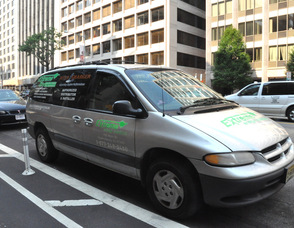 One of the Extreme Energy Solutions vehicles in front of the Washington Post building in Washington, DC.