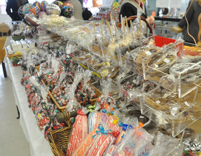 An array of candies lined up at the store.