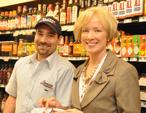 Lou Bavaro of Michelbob's and Kings Food Markets President and CEO, Judy Spires.
