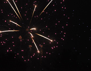 The fireworks display as seen by the former Stop & Shop parking lot, where a crowd gathered.