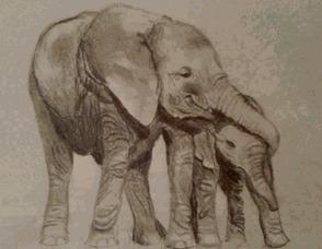 Elephants painted by Maggie Fisher.