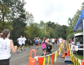 Runners take off down the course.