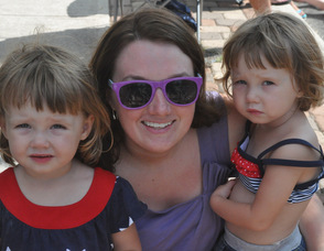 Melissa Orlando with twins two-year-old twins Mallory and Fiona.