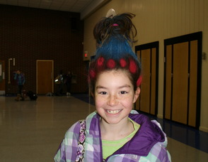 A student with crazy hair on Crazy Hair Day