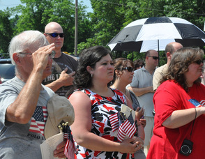 "The crowd at attention during ""The Star Spangled Banner"", including Town of Newton Mayor Helen Le Frois."