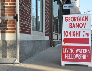 Sign outside of Living Waters Fellowship on Spring Street.