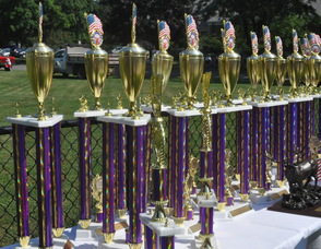 Trophies lined up at the beginning of the parade.