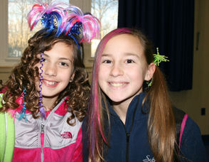 Students with crazy hair on Crazy Hair Day
