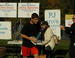 Race Winner, Joseph Dragon, from High Point Regional High School.
