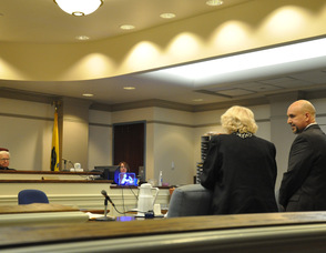 Betty Harris speaks to the court.