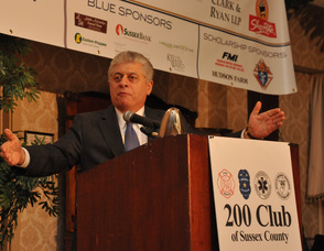 Andrew Napolitano, Fox News Senior Analyst, and former New Jersey Superior Court Judge, addresses The 200 Club of Sussex County.