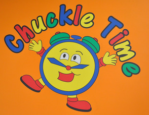 The Chuckle Time Logo at the entrance foyer.