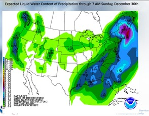 National Weather Service Map, For Precipitation Through Sunday, December 30.